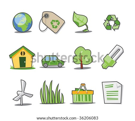Green Icons Fresh Collection - Set 5 Professional icons for websites, applications or presentations. - stock vector
