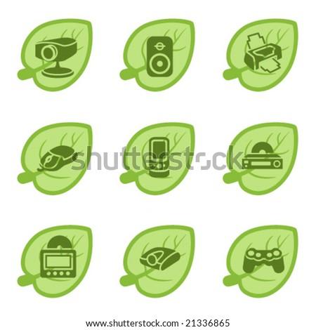 Green icons, set 21 - stock vector