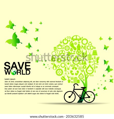 Green icons set and save world background,vector illustration - stock vector