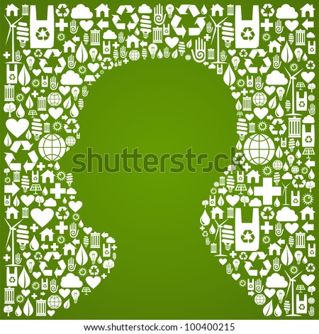 Green icons set background in man head symbol. Vector file available. - stock vector