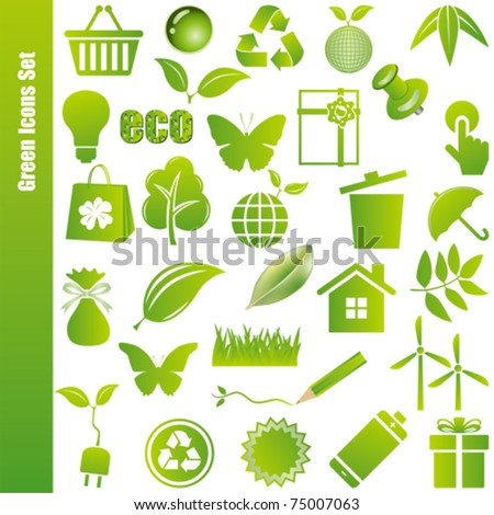 Green icons set. Illustration vector. - stock vector