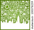 Green icons set in city silhouette background. Vector file available. - stock photo