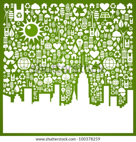 Green icons set in city silhouette background. Vector file available. - stock vector