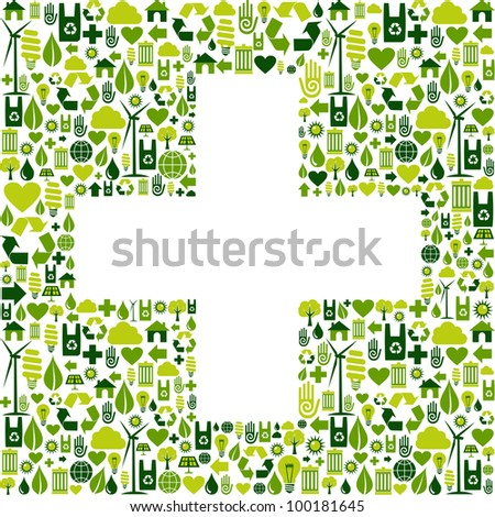 Green icons set in plus shape background. Vector file available. - stock vector