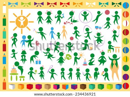 green icons with children and toys in frame