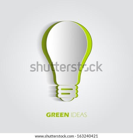 Green ideas innovation, 3D eco bulb energy icon, vector design - stock vector
