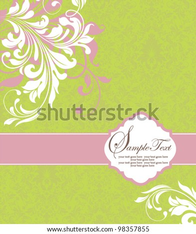 green illustration with white floral elements - stock vector