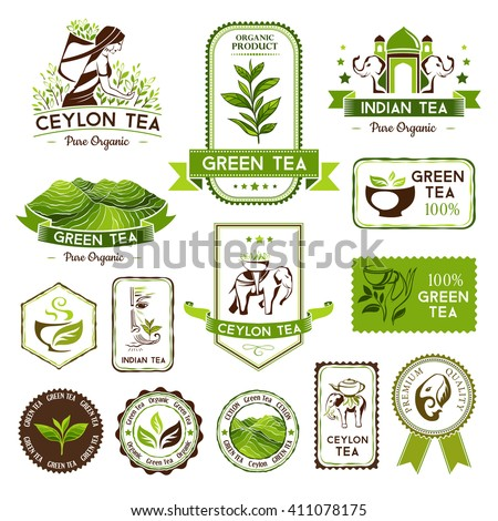 Green, indian and ceylon tea labels, badges and banners. Decorative elements for package design - stock vector