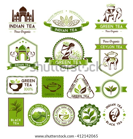 Green, indian, ceylon and black tea labels, badges and banners. Decorative elements for package design - stock vector