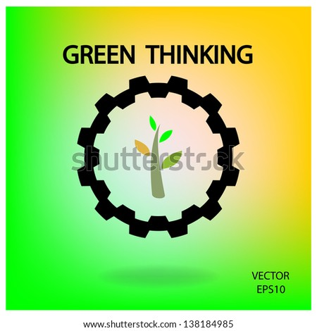 green industrial symbol,green thinking,vector - stock vector