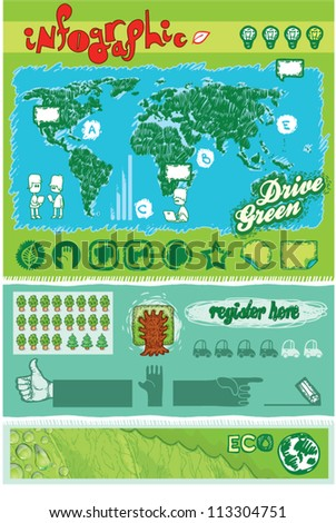 green infographics set. ecology vector - stock vector
