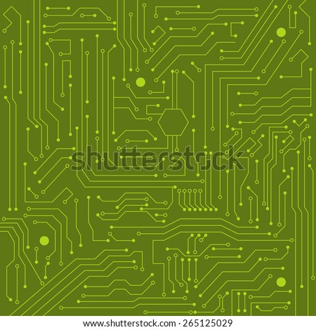 Green integrated circuit computer world - stock vector