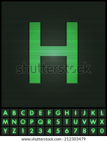 Green interlaced letters and numbers font set - H
