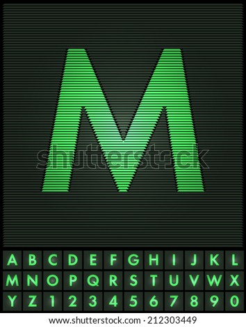 Green interlaced letters and numbers font set - letter M
