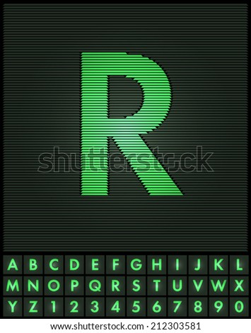 Green interlaced letters and numbers font set - letter R