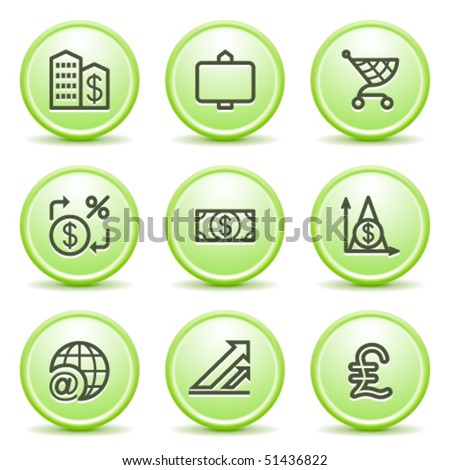 Green internet button 23 - stock vector