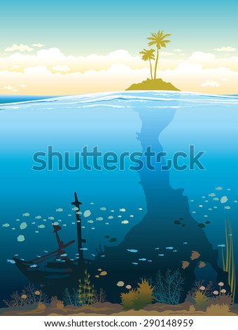 Green island on a cloudy sky and underwater cave with coral reef and fish. Nature tropical vector illustration. - stock vector