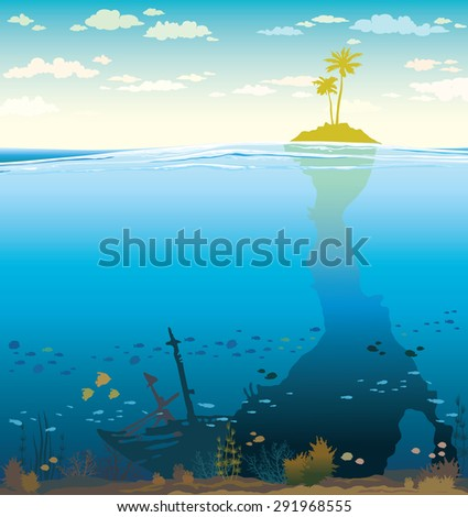 Green island with coconut tree and underwater cave with coral reef. Nature tropical vector illustration. - stock vector