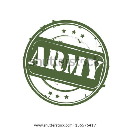 Green khaki retro round rubber stamp Army VECTOR - stock vector