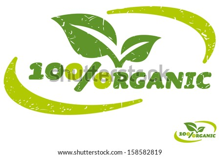 Green label for hundred percent organic products vector symbol