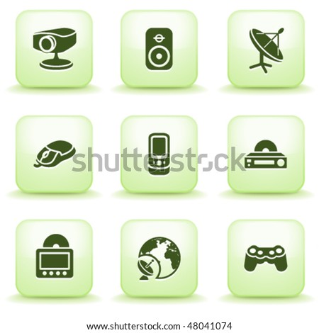 Green label for web 21 - stock vector