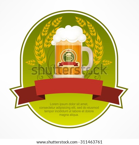 Green label with beer in glass mug and red ribbon, vector illustration - stock vector