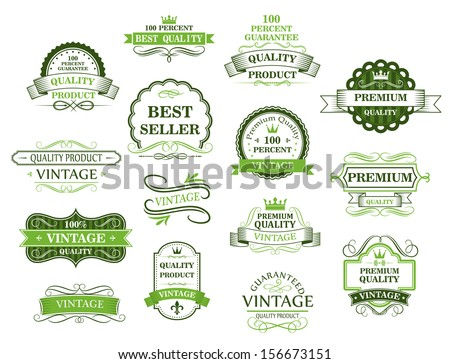 Green labels and banners in retro style for web or retail design or idea of logo. Jpeg version also available in gallery - stock vector