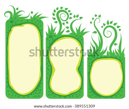 Green labels frame vector set - 3 vertical rectangle green border, decorated ornamental grass, swirls leaf. Spring garden concept, herb icon, botany stickers, eco food headliner vector collection. - stock vector