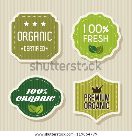 green labels over beige background. vector illustration - stock vector