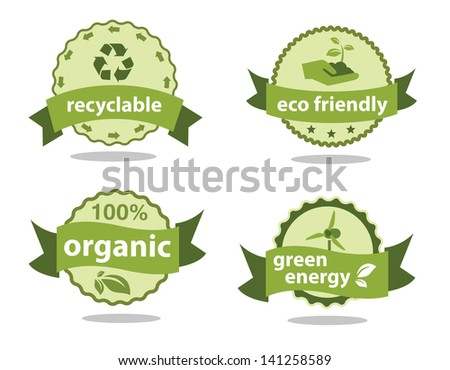 Green Labels set isolated on white with shadow