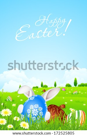 Green Landscape Background with Easter Eggs and Rabbit - stock vector