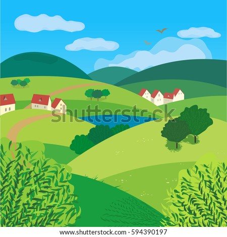 Green landscape freehand drawn cartoon outdoors stock for Design of oxidation pond ppt