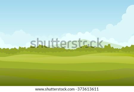 Green landscape, vector - stock vector