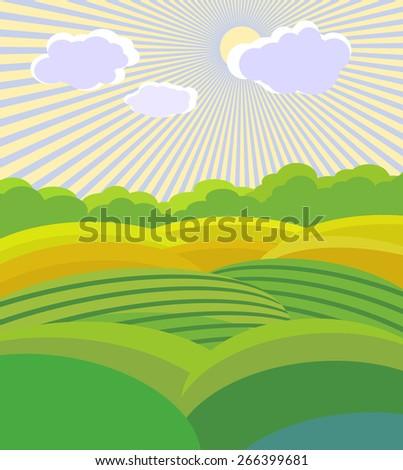 Green Landscape .Vector illustration - stock vector
