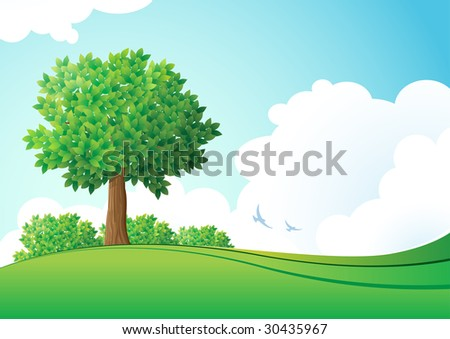 Green landscape. Vector illustration. Elements are layered separately in vector file. - stock vector
