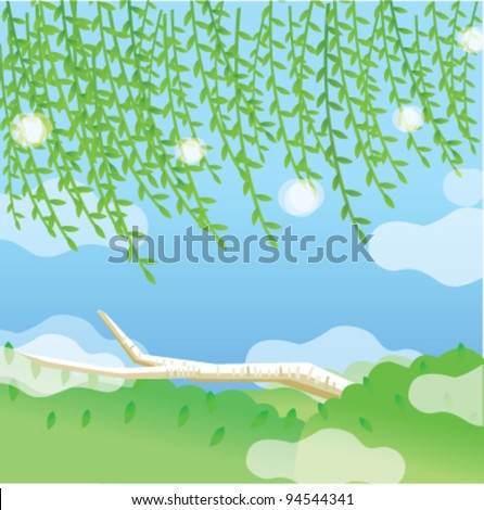 Green landscape with blue sky