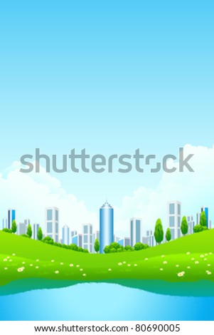 Green landscape with city lake and flowers - stock vector