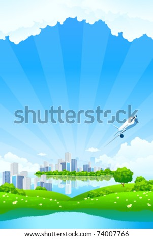 Green Landscape with City water and clouds - stock vector