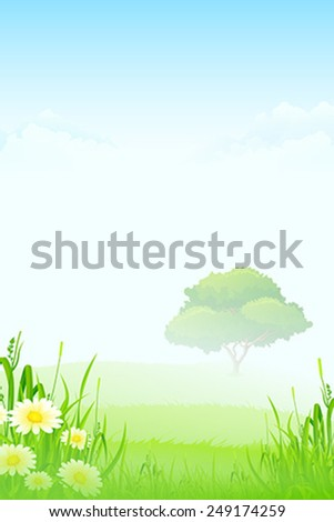 Green Landscape with clouds flowers and one Tree in Fog - stock vector