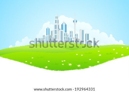 Green landscape with Flowers, City and Clouds - stock vector