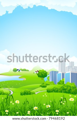 Green landscape with flowers grass lake and city
