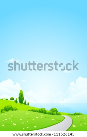 Green Landscape with Flowers, Road and Lake - stock vector