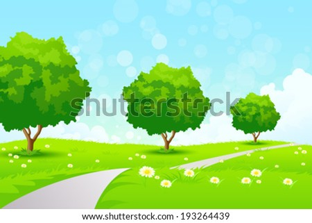 Green Landscape with  Flowers Trees and Road - stock vector