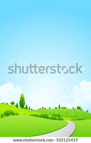 Green Landscape with  Flowers Trees Clouds and road - stock vector