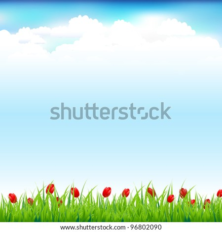 Green Landscape With Grass And Red Tulip, Vector Illustration - stock vector