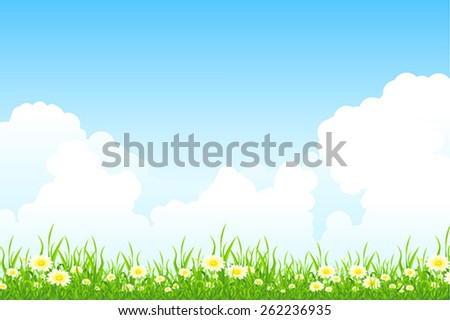 Green Landscape with grass clouds and flowers - stock vector