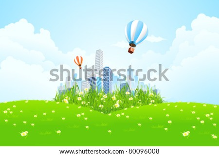 Green landscape with grass flowers and clouds - stock vector