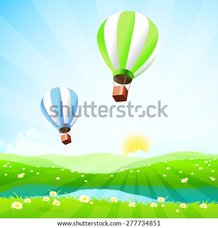 Green Landscape with Lake and Hot Air Balloons - stock vector