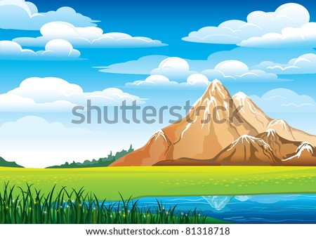 Green landscape with meadow, blue lake and mountains on a cloudy sky background - stock vector