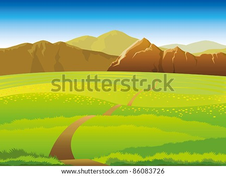 Green landscape with meadow, forest and mountains on a blue sky background